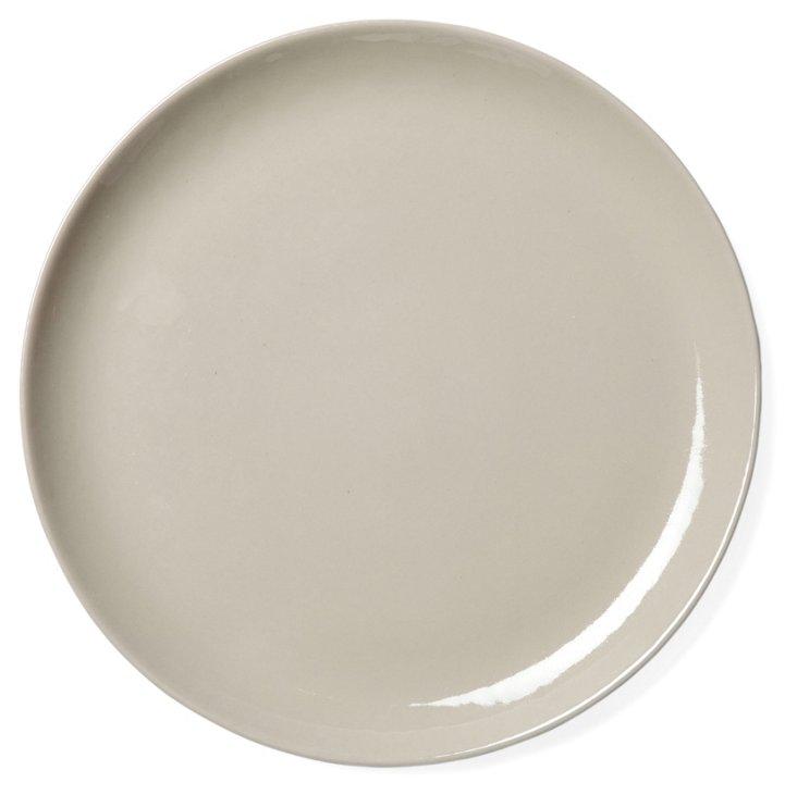 Round Shell Bisque Platter, Neutral