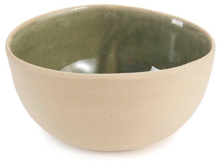 Medium Round Eggshell Ceramic Dish, Gray