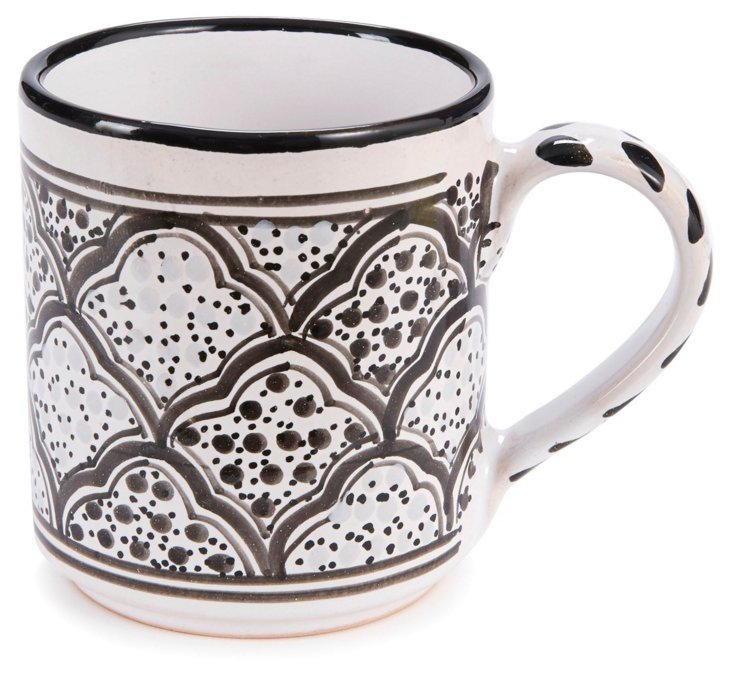 S/4 Tunis Coffee Mugs, Gray/Black