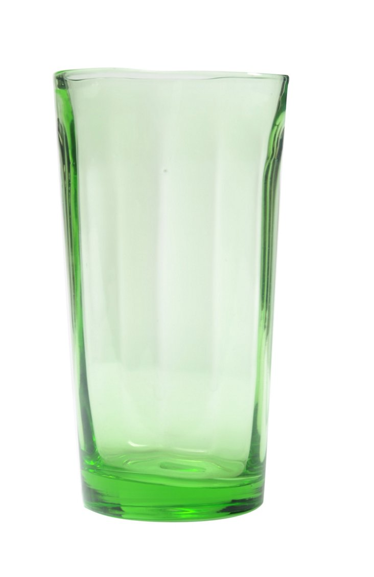 S/4 Optic Juice Glasses, Light Green