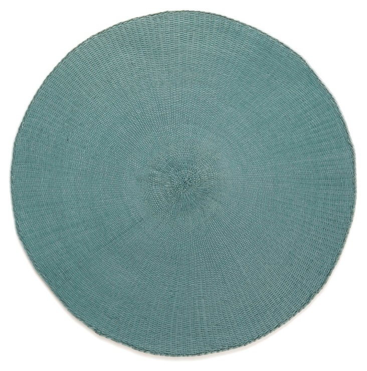 S/8 Round Cotton Place Mats, Smoked Blue