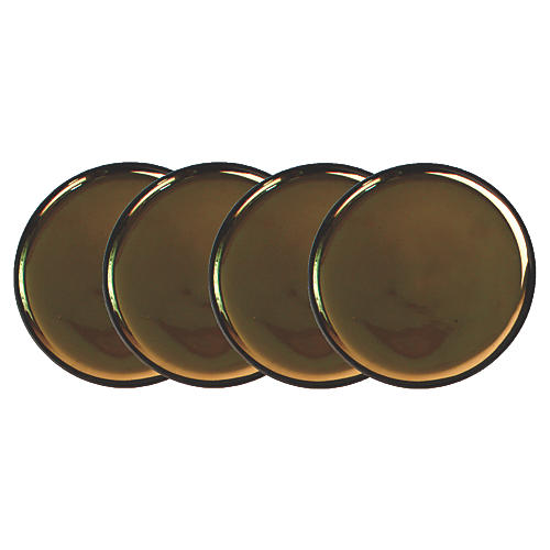 S/4 Dauville Plates, Charcoal/Gold