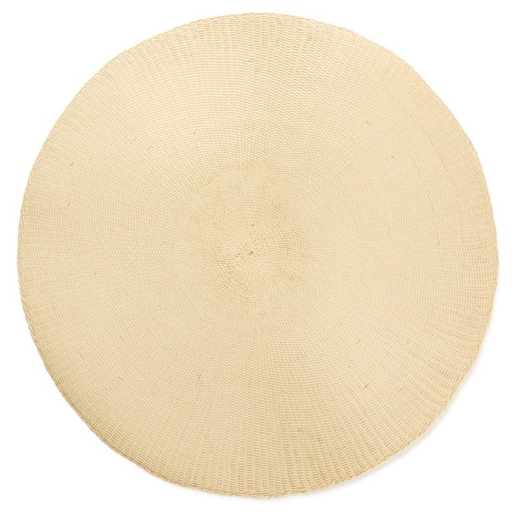 DNU S/8 Round Cotton Place Mats, Taupe
