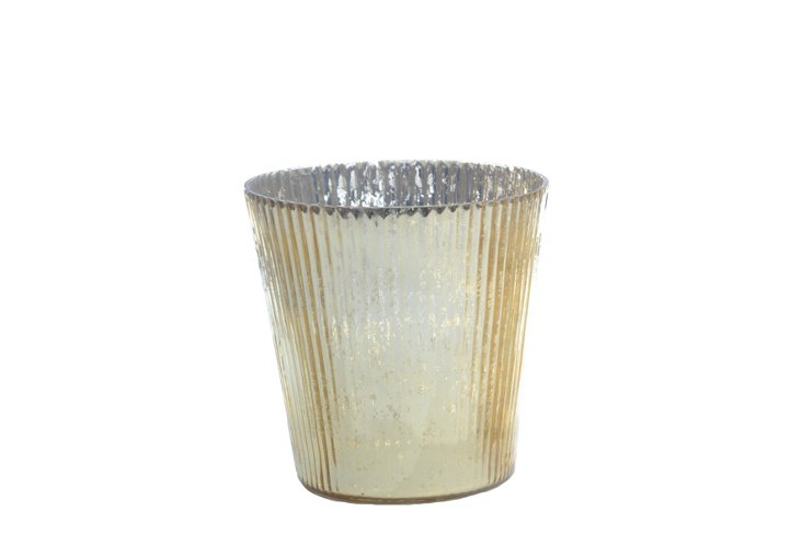 DNU S/6 Ribbed Votives, Small Gold