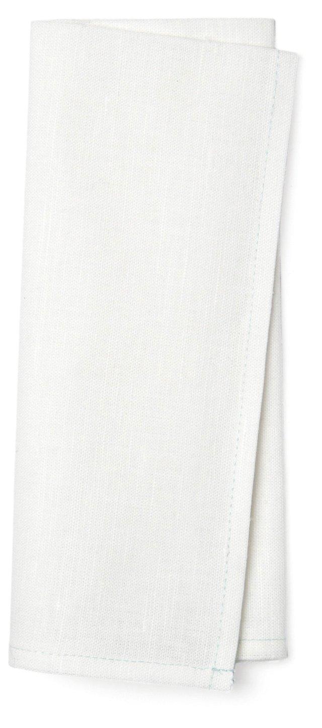 DNU S/4 Linen Napkins, White/Mint