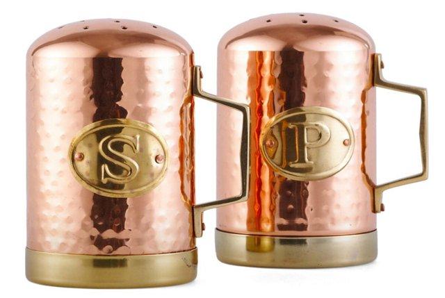 Hammered Salt & Pepper Shakers, Copper
