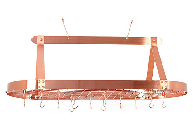 24 Hook Oval Hanging Pot Rack, Copper