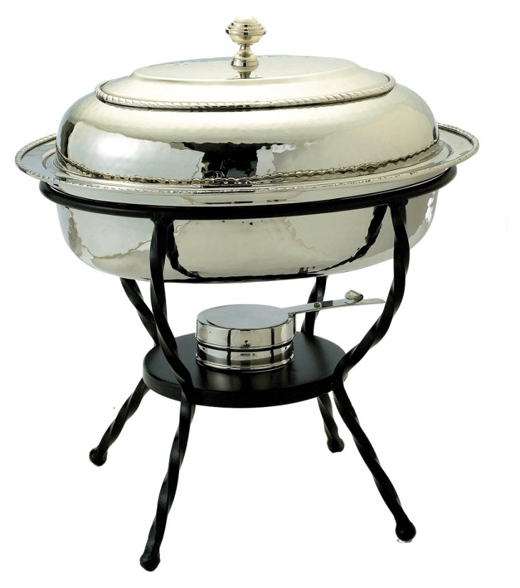 Nickel Plated Oval Chafing Dish, 6 Qt