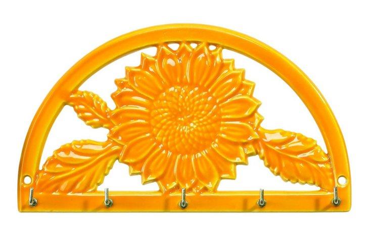 Two-Tone Sunflower Key Rack, Tangerine