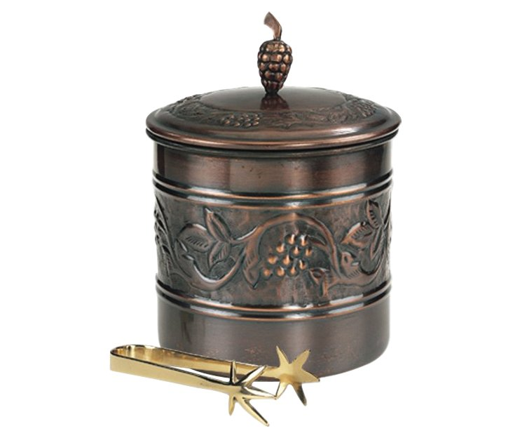 Antiqued Ice Bucket w/ Tongs