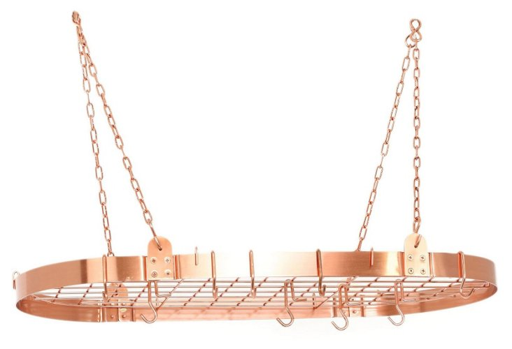 12-Hook Hanging Pot Rack, Copper