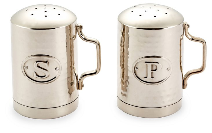 Hammered Salt & Pepper Shakers, Steel