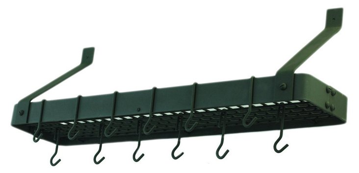 Bookshelf Pot Rack w/ Grid, Graphite