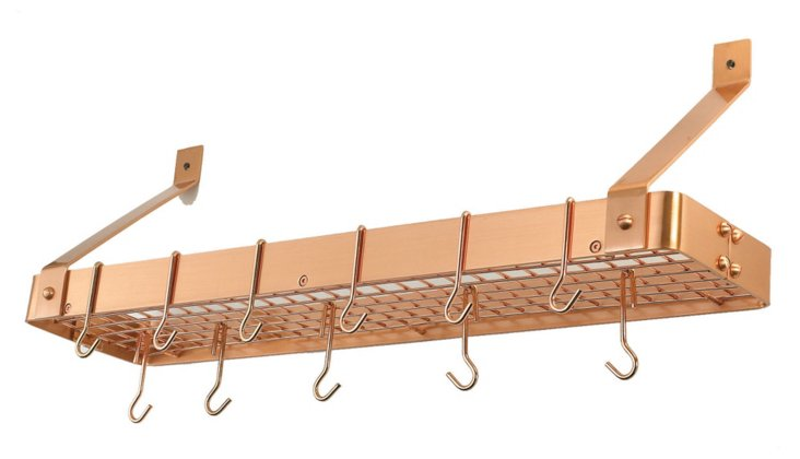12-Hook Bookshelf Pot Rack, Copper