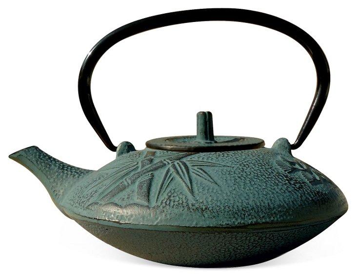 Cast Iron Sakura Teapot, Shale Green