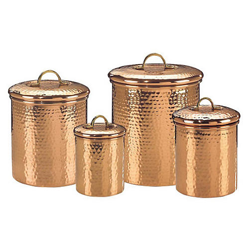 S/4 Assorted Hammered Copper Canisters