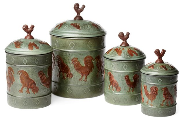 S/4 Nested Country Rooster Canisters