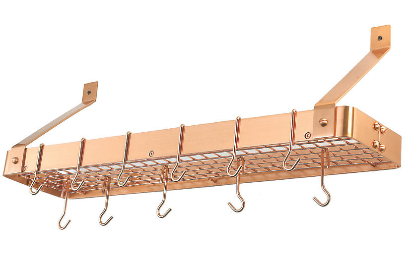 Satin Copper Cookware Shelf with Grid