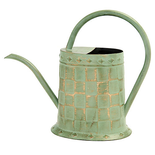 """13"""" Quavious Watering Can, Green/Gold"""