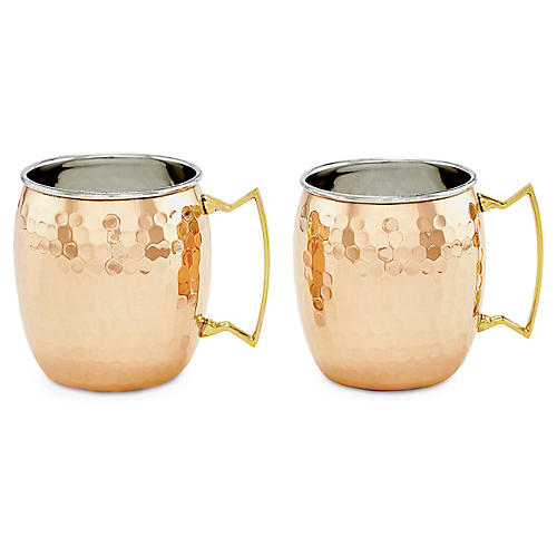 S/2 Hansley Hammered Moscow Mule Mugs, Copper