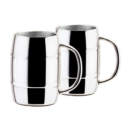 S/2 Barker Mugs, Silver
