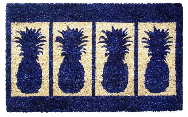 """1'6""""x2'6"""" Pineapple Mat, Navy"""