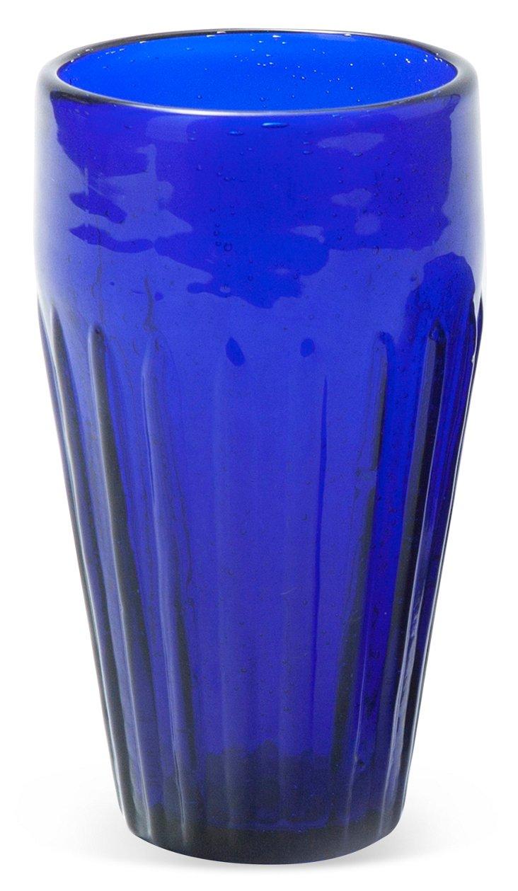 S/4 Handmade Rustic Glasses, Cobalt