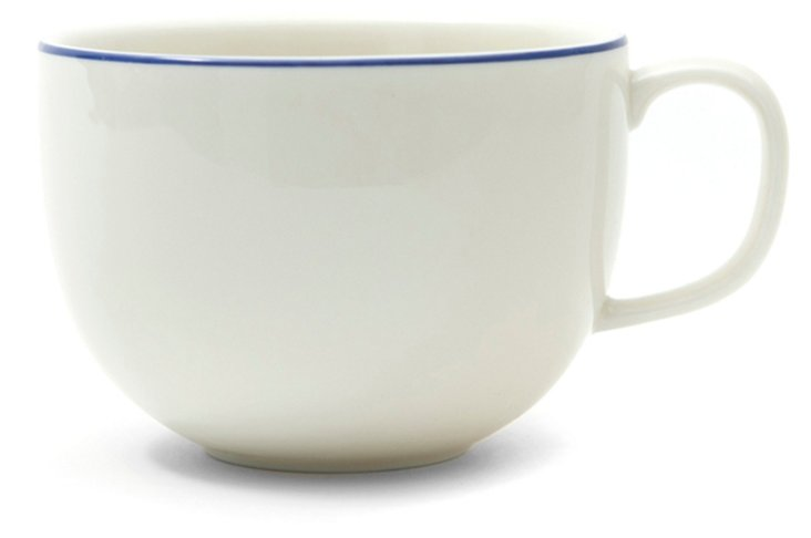S/4 Blue Band Porcelain Mugs