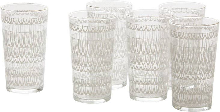 Painted Glassware, Set of 6