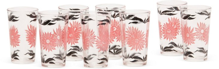 Floral Tumblers, Set of 8