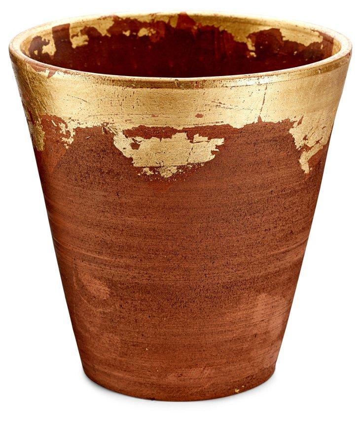 "8"" Distressed-Rim Planter, Gold"