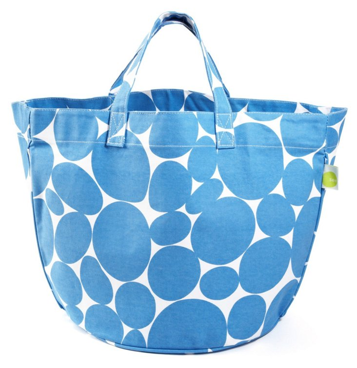 Dotted Circle Tote, Royal Blue/White