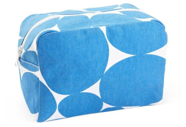 Large Cosmetic Bag, Blue Dot