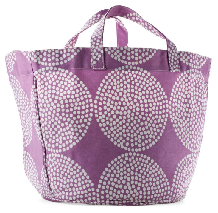 Big Wheels Circle Tote, Lavender/White