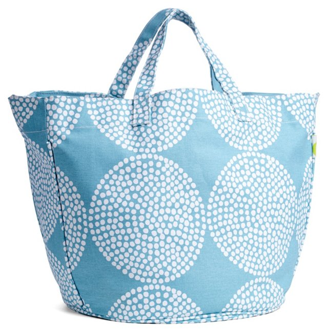 Big Wheels Circle Tote, Aqua/White