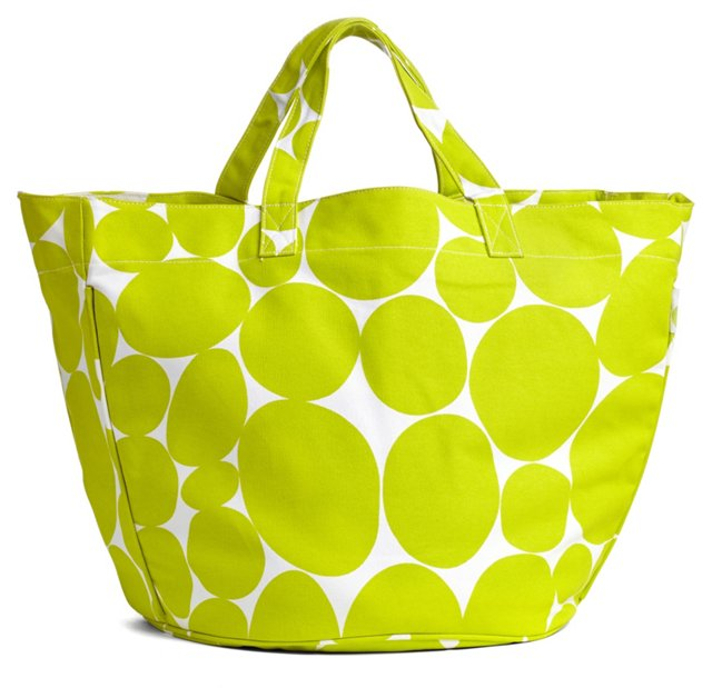 Dotted Circle Tote, Lime/White
