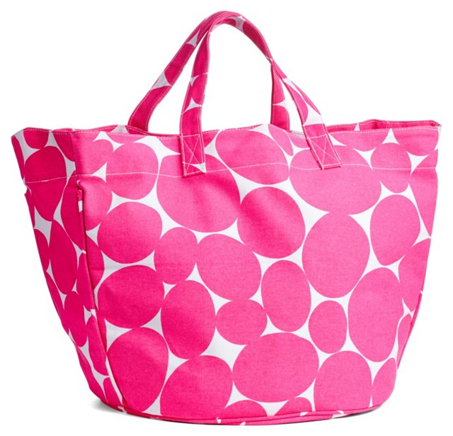 Dotted Circle Tote, Pink/White