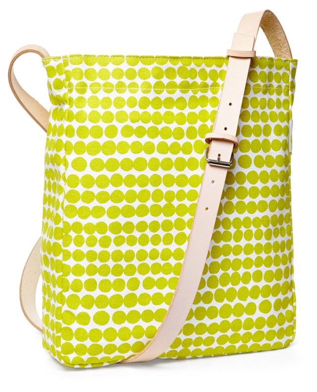 Dots Messenger Bag, Lime/White