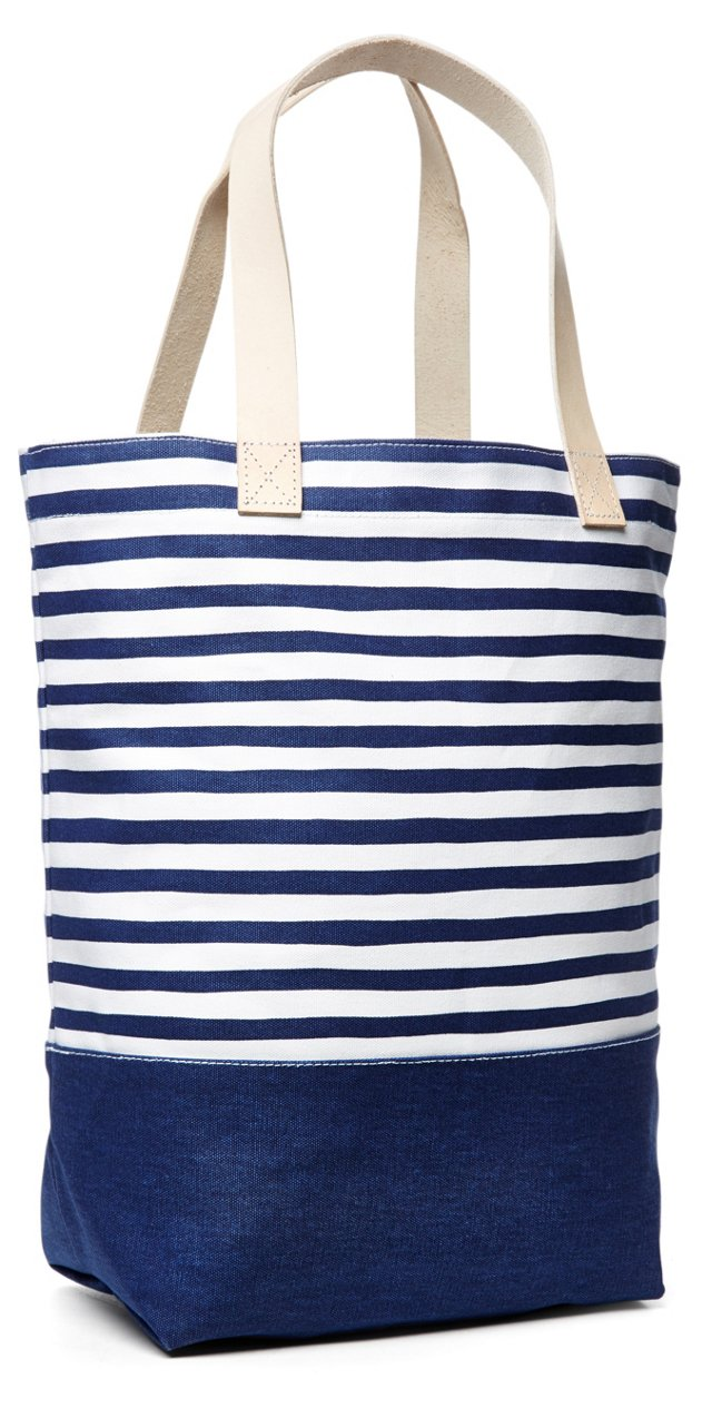 Stripe Square Tote, Navy/White