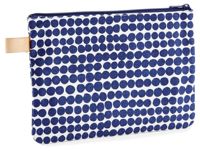 Large Drops Clutch, Navy/White
