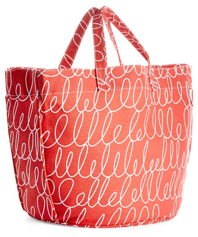 Notes Circle Tote, Red