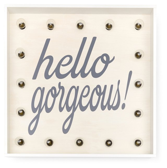 """Marquee Light-Up """"Hello Gorgeous"""" Sign"""