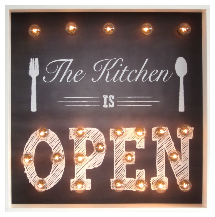 "Marquee Light-Up ""Kitchen is Open"" Sign"