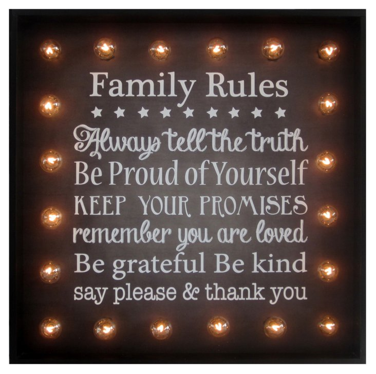 Family Rules Wall Marquee