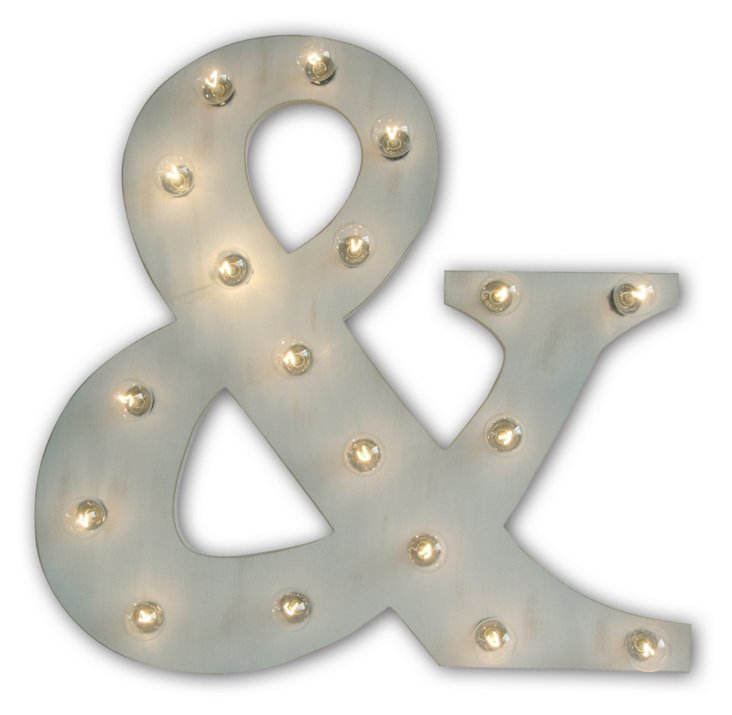 Marquee Light-Up Ampersand, Gray