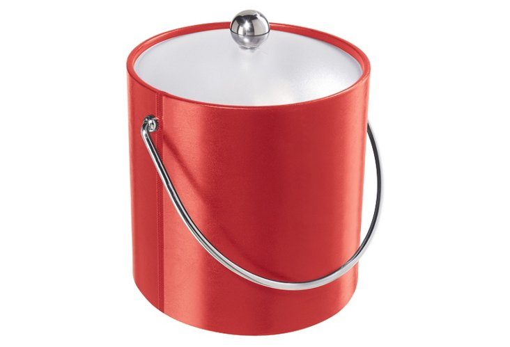Vinyl Ice Bucket w/ Acrylic Lid, Red