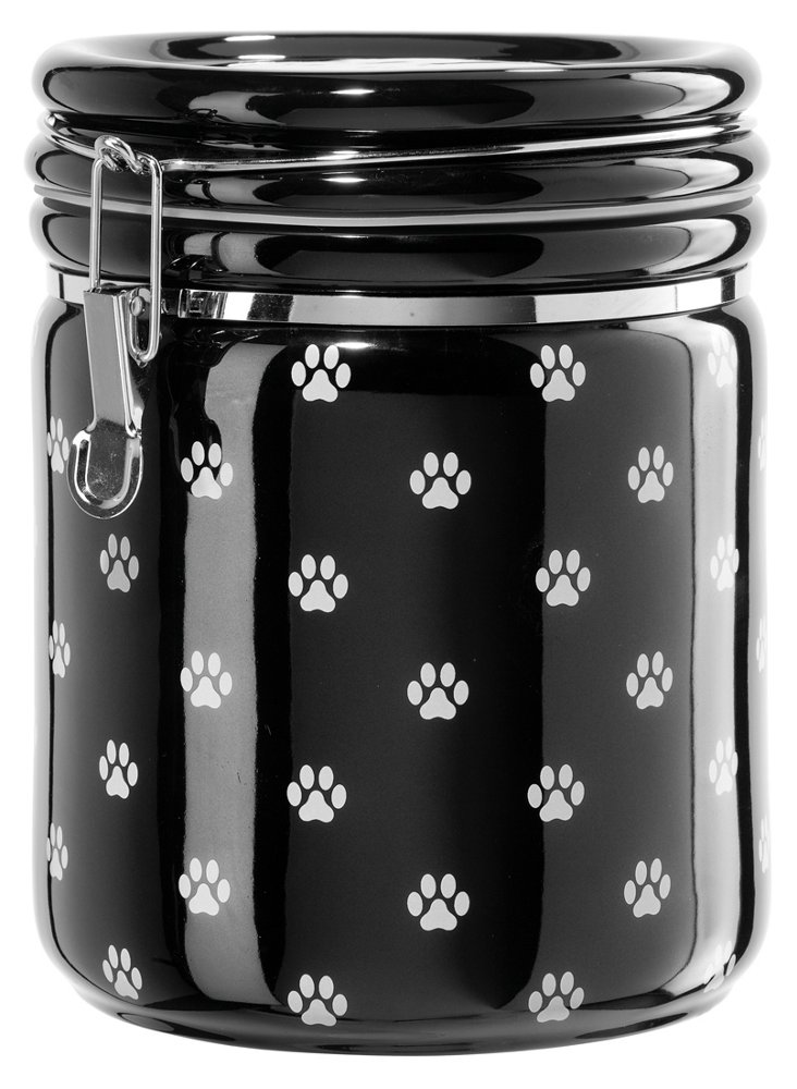 Paw Prints Airtight Canister, Black