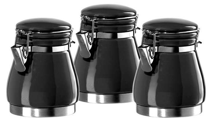 3-Pc Mini Canister Set, Black