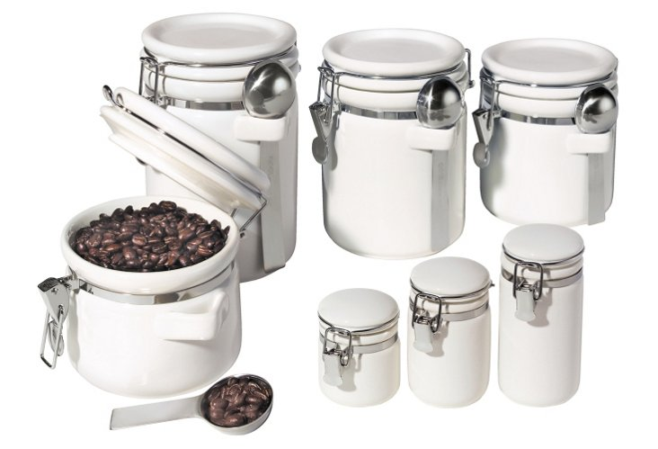 7-Pc Round Canister Set w/ Lids, White