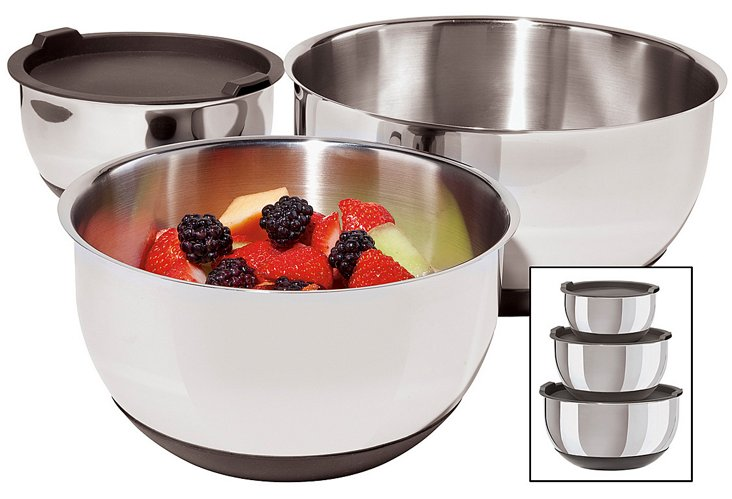 6-Pc S/S Bowl Set with Silicone Bases